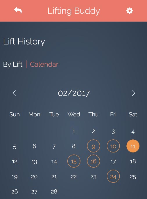 Lifting Buddy Calendar View First Step